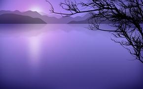 Обои минимализм, вектор, Озеро