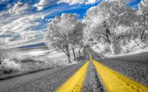 Картинка дорога, небо, облака, деревья, hdr, Pennsylvania