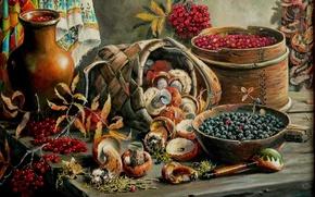 Картинка ягоды, грибы, арт, натюрморт, Андрей Лях