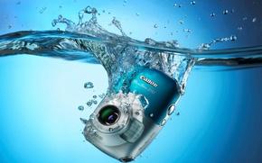 Картинка вода, капли, брызги, фон, голубой, обои, фотоаппарат, Canon PowerShot D10, Цифровой