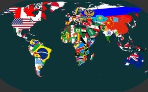 Картинка Карта, Планета, Австралия, Флаги, Африка, Континенты, Map, Страны, Евразия, Южная и Северная Америка