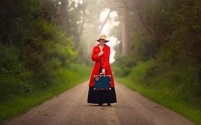 Картинка дорога, девушка, чемодан, шляпка, в красном