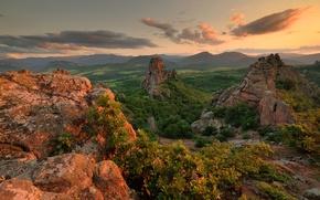 Картинка лес, небо, трава, облака, лучи, деревья, пейзаж, горы, природа, скалы, зарево, grass, forest, sky, trees, …