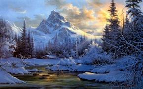 Картинка зима, лес, снег, пейзаж, закат, горы, природа, река, дым, ели, сугробы, хижина, живопись, изба, солнечные ...