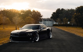 Картинка Chevrolet, Muscle, Camaro, Car, Front, Black, Autumn, Matte, Stance, ZL1