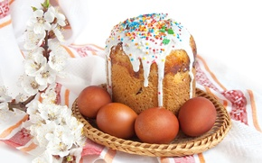 Картинка цветы, кулич, ветка, яйца, праздник, Easter, Пасха