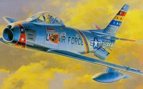 Картинка рисунок, истребитель, арт, американский, реактивный, North American, ввс сша, Sabre, F-86F