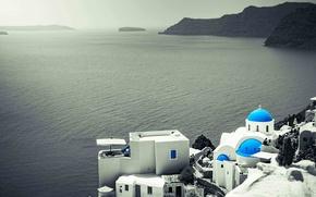 Обои Греция, дома, островок, море, скалы, церковь Св Ирен, Эгей, горизонт