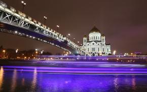 Обои ночь, мост, огни, река, собор, храм