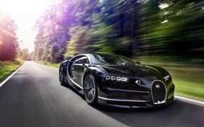 Обои logo, car, Chiron, Bugatti Chiron, Bugatti, speed, supercar, asphalt