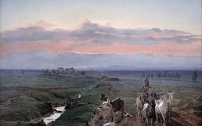 Картинка Мюнхен, morning landscape and herd of goats, картинная галерея, Фердинанд Георг Вальдмюллер, Neue Pinakothek, Ferdinand …