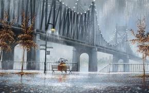 Картинка деревья, дождь, улица, зонт, фонари, пара, двое, скамья, Jeff Rowland