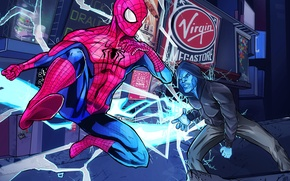 Картинка electro, fight, spider man, the amazing spider man 2