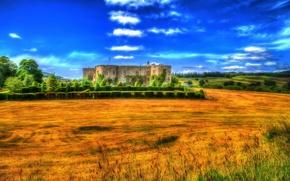 Обои поля, Wales, обработка, деревья, кусты, Chirk Castle, замок, Великобритания, дизайн