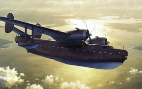 Картинка art, airplane, painting, aviation, Beriev Be6 Madge 1960's era Soviet Flying Boat