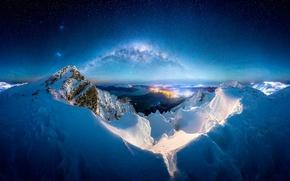 Картинка зима, снег, горы, ночь, млечный путь