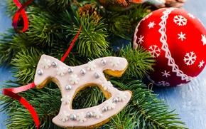 Картинка зима, красный, игрушка, еда, ель, ветка, шарик, Новый Год, печенье, Рождество, сладости, ёлка, Christmas, сдоба, …