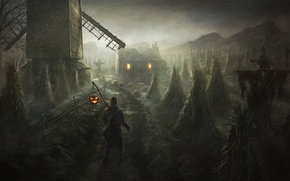 Картинка дом, человек, арт, мельница, Хэллоуин, пугало
