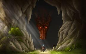 Обои оружие, арт, солнечные лучи, мышь, дракон, дерево, мышка, пещера