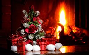 Картинка уют, елка, Новый Год, Рождество, подарки, камин, Christmas, New Year, декор, Xmas, Merry, снежки, 2016