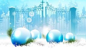 Картинка снег, снежинки, праздник, шары, новый год, веточки ели