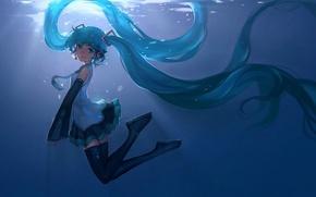 Картинка девушка, улыбка, аниме, наушники, арт, микрофон, vocaloid, hatsune miku, под водой, hanyijie