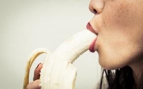 Обои lips, fruit, banana