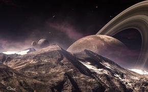Картинка горы, ландшафт, планета, кольца, спутники, пик
