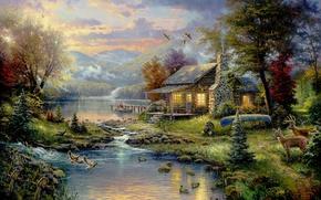 Обои лес, деревья, горы, птицы, дом, река, лодка, Картина, house, forest, живопись, олени, river, nature, art, ...