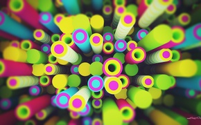 Картинка графика, lacza, colorful, круги, рендер, digital art