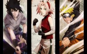 Картинка взгляд, кровь, катана, руки, перчатки, повязка, Sasuke, Naruto, Sakura, друзья, кулак, ниндзи, кунай, ninja, Наруто …