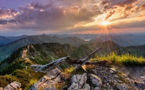 Картинка солнце, пейзаж, горы, природа, панорамма