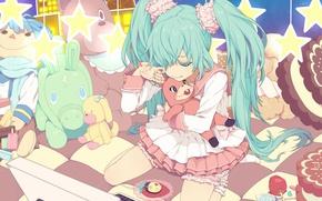 Картинка игрушки, слезы, сладости, ноутбук, vocaloid, сидит, Hatsune Miku, звездочки, вокалоид, голубые волосы