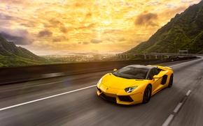 Картинка Lamborghini, Light, Speed, Front, Yellow, LP700-4, Aventador, Road, Supercar, Spoiler