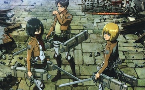 Картинка брусчатка, разрушение, эмблема, клинки, военная форма, Shingeki no Kyojin, Mikasa Ackerman, Eren Yeager, Armin Arlert, …