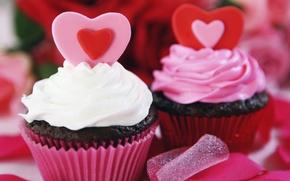 Картинка сердце, еда, украшение, пирожное, крем, десерт, сладкое, кекс