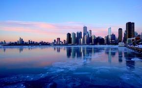 Обои зима, город, река, лёд, небоскребы, вечер, Чикаго, Иллиноис