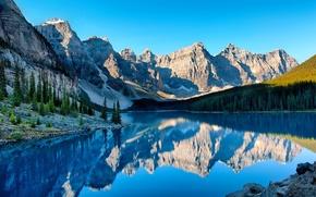 Картинка небо, деревья, горы, природа, озеро, отражение
