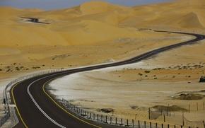 Картинка дорога, асфальт, пустыня, road, desert, Abu Dhabi, ОАЭ, Абу-Даби, Лива, Liwa