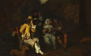 Картинка картина, жанровая, Гербранд ван ден Экхоут, Музыкальная Партия