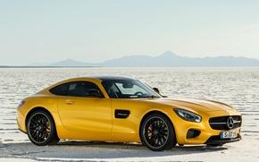 Картинка машина, авто, желтый, пустыня, купе, Mercedes-Benz, Mercedes, спорткар, мерседес, AMG, 2014, Mercedes-AMG GT