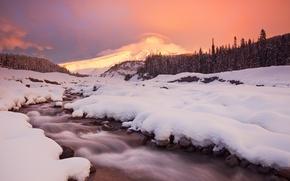 Обои зима, снег, горы, ручей