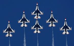 Картинка истребитель, general, fighting, falcon, f-16, dynamics, thunderbirds