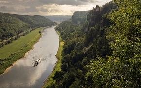 Обои лодка, отражение, реки Эльбы, Долина Эльбы, Германия, зеркало, Саксония, скалы, горизонт, облака