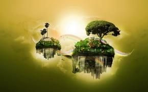 Обои дерево, обработка, Острова, вода