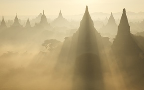 Картинка light, Asia, Myanmar, Ruins at Sunrise, Bagan