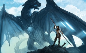Обои дракон, меч, магия, арт, девушка, трещины, скалы