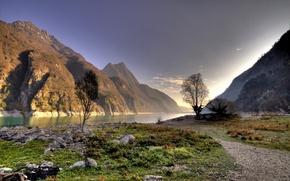 Картинка зелень, небо, пейзаж, река, гора