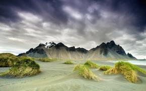 Картинка горы, весна, Исландия, мыс, Стоккснес