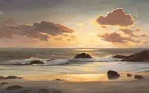 Обои арт, песок, море, пляжи, волны, вода, рисунок, океан, рисунки, облака, облако, картина, пейзажи, природа, камень, ...